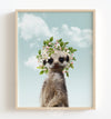 Baby Meerkat with Flower Crown and Blue Sky Printable Art