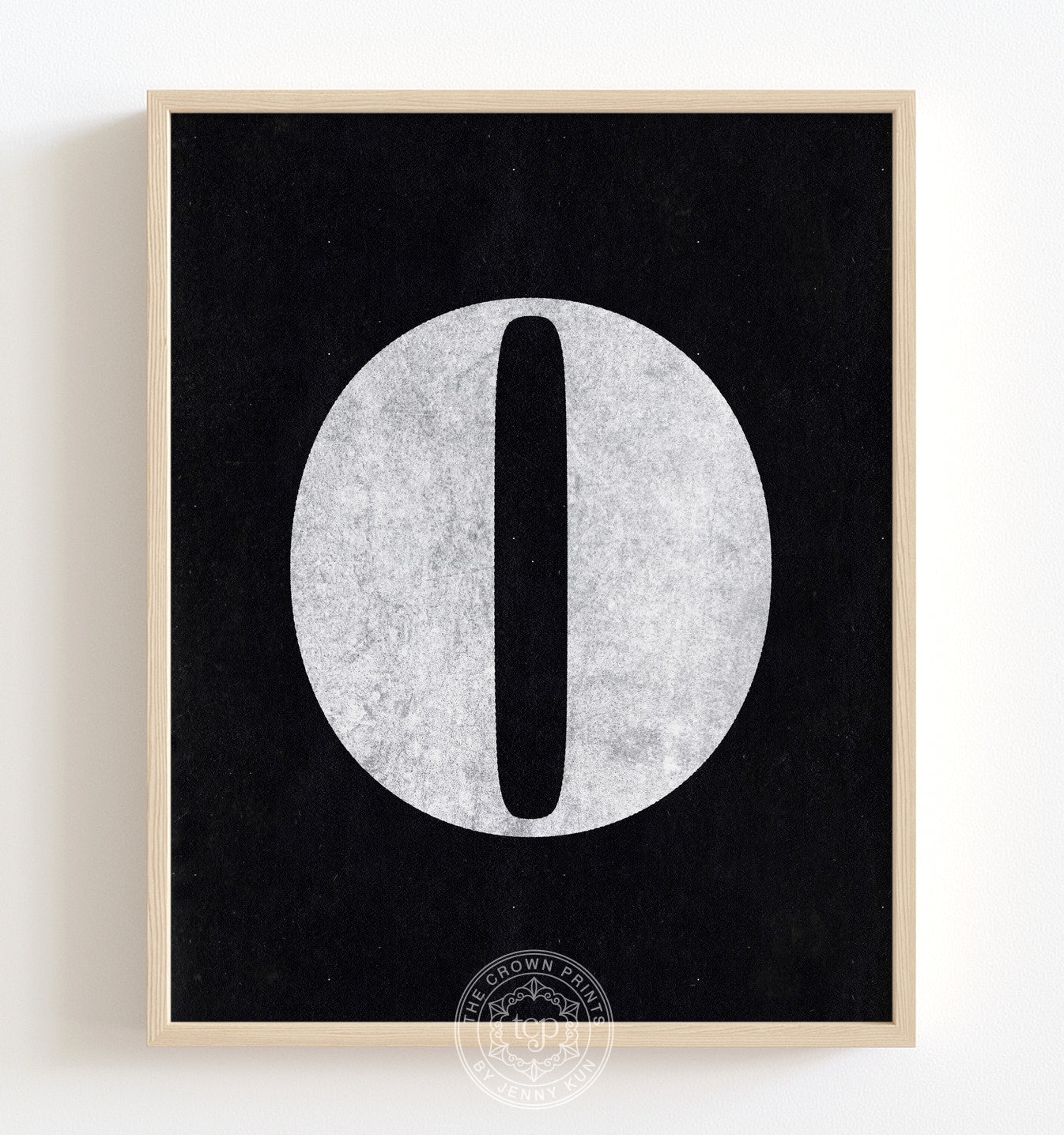 Number Zero - White on Black Printable Art