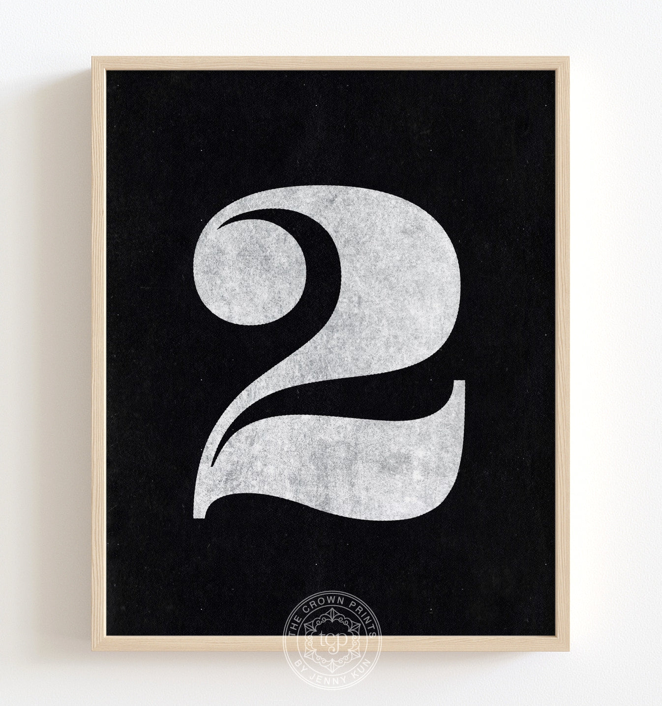Number Two - White on Black Printable Art