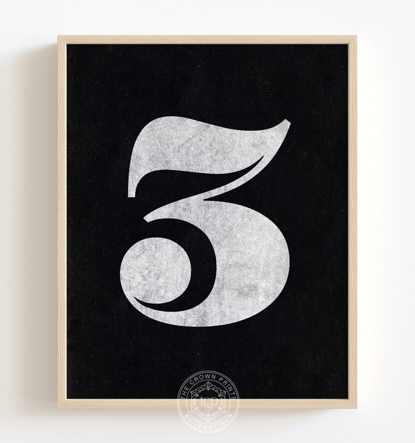 Number Three - White on Black Printable Art