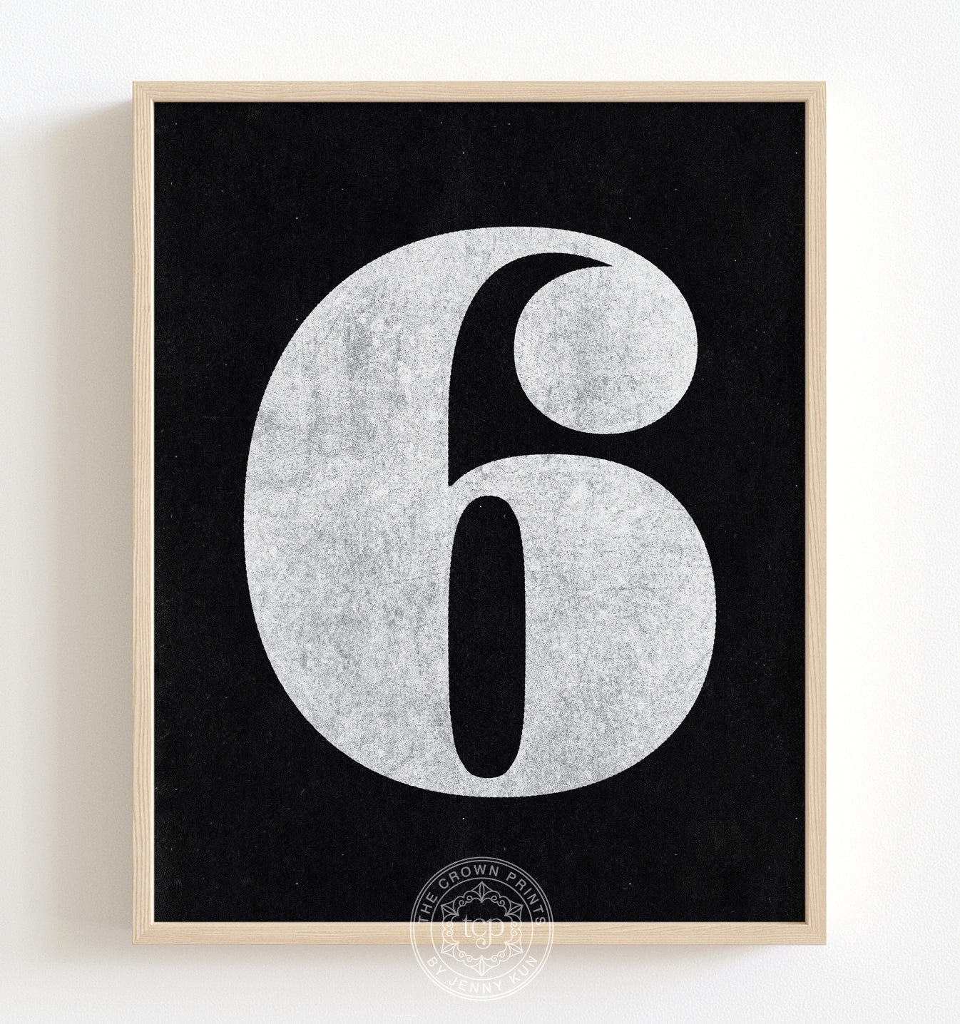 Number Six - White on Black Printable Art