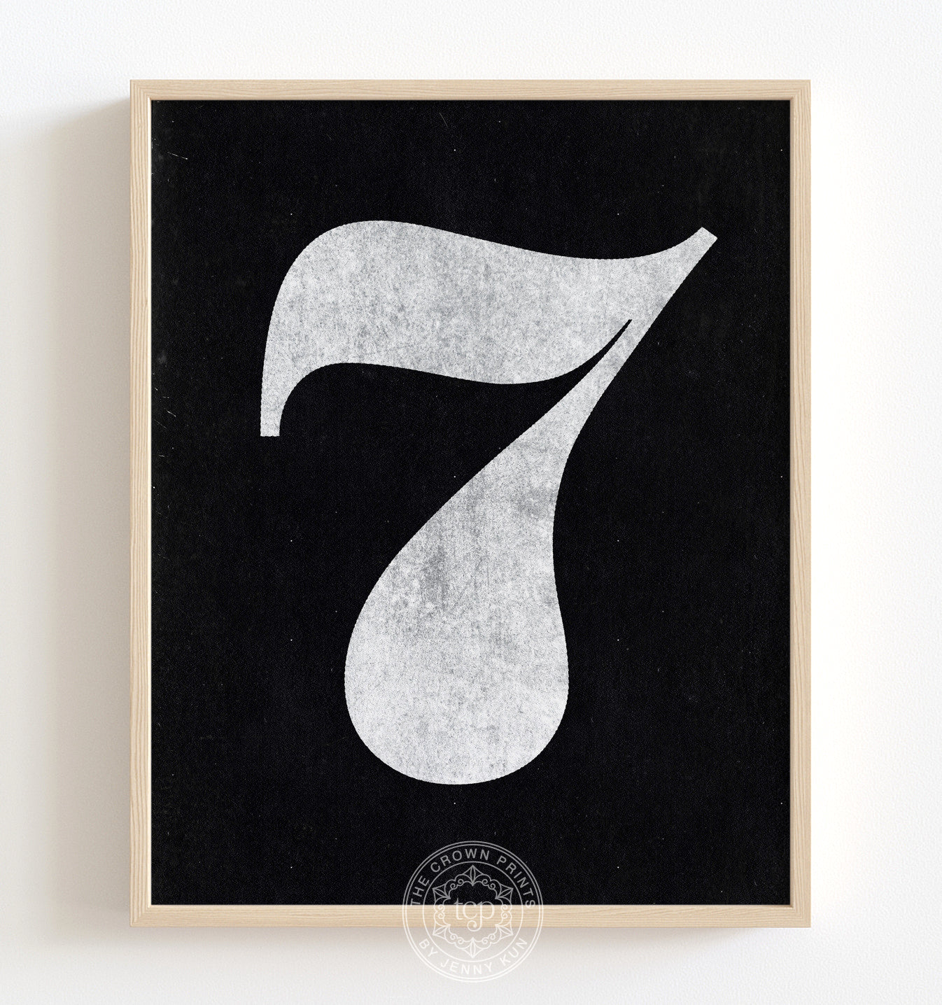 Number Seven - White on Black Printable Art