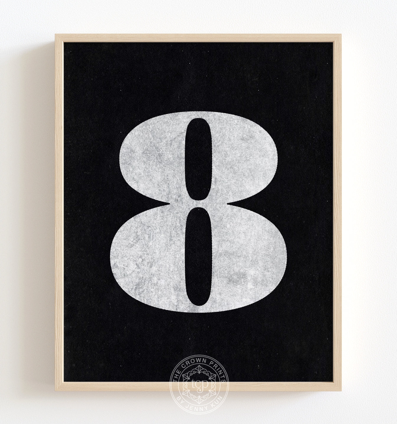 Number Eight - Black on White Printable Art