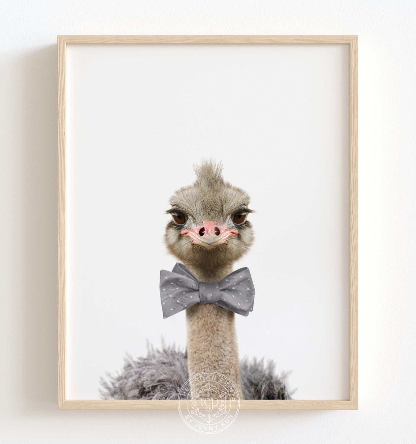 Baby Ostrich with Bow Tie Printable Art