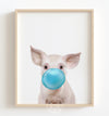 Baby Pig with Blue Bubblegum Printable Art