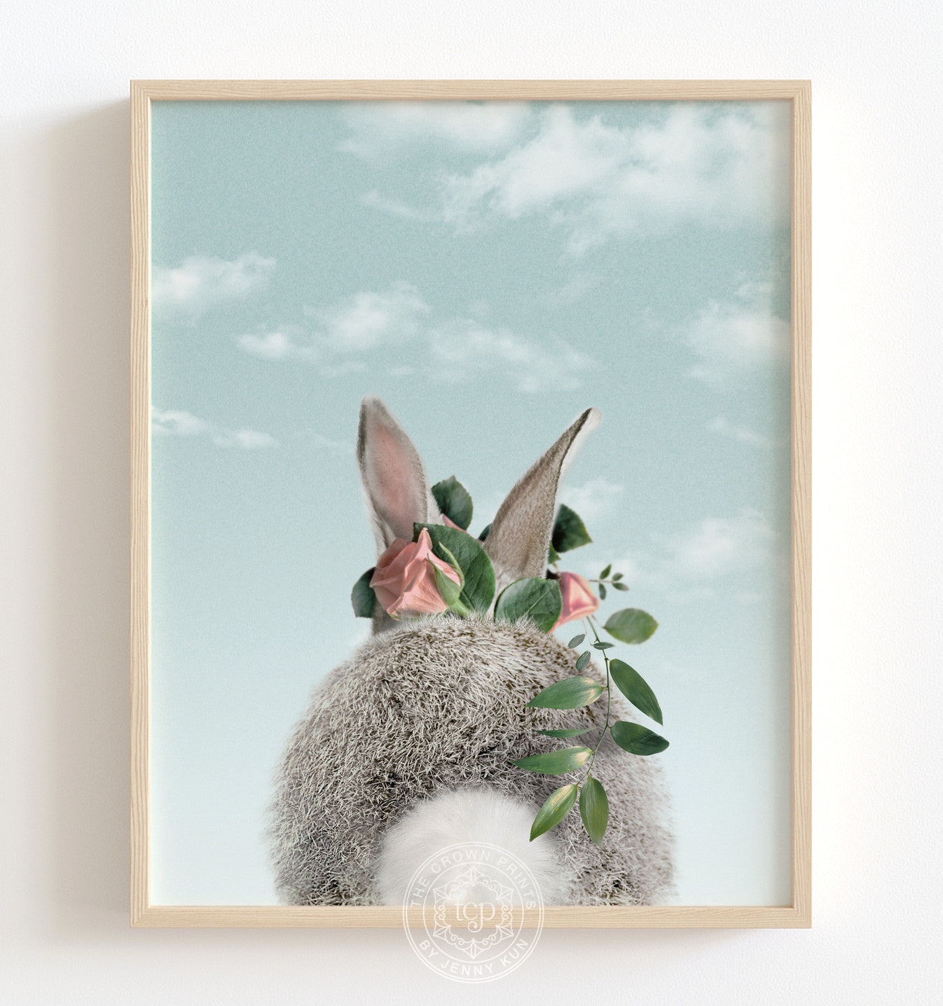 Baby Bunny Bum with Flower Crown and Blue Sky Printable Art