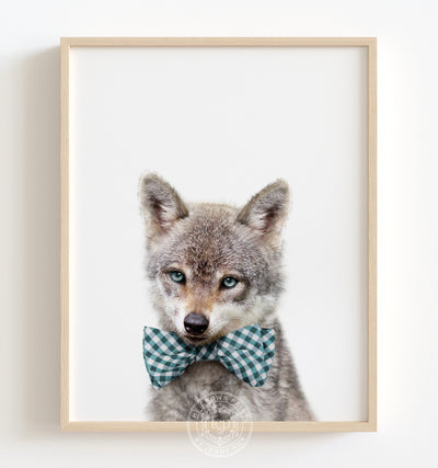 Baby Wolf with Bow Tie Printable Art