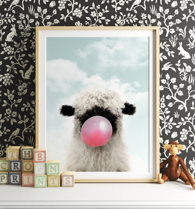 Baby Blacknose Sheep with Pink Bubblegum and Blue Sky Printable Art