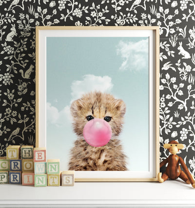 Baby Cheetah with Pink Bubblegum and Blue Sky Printable Art