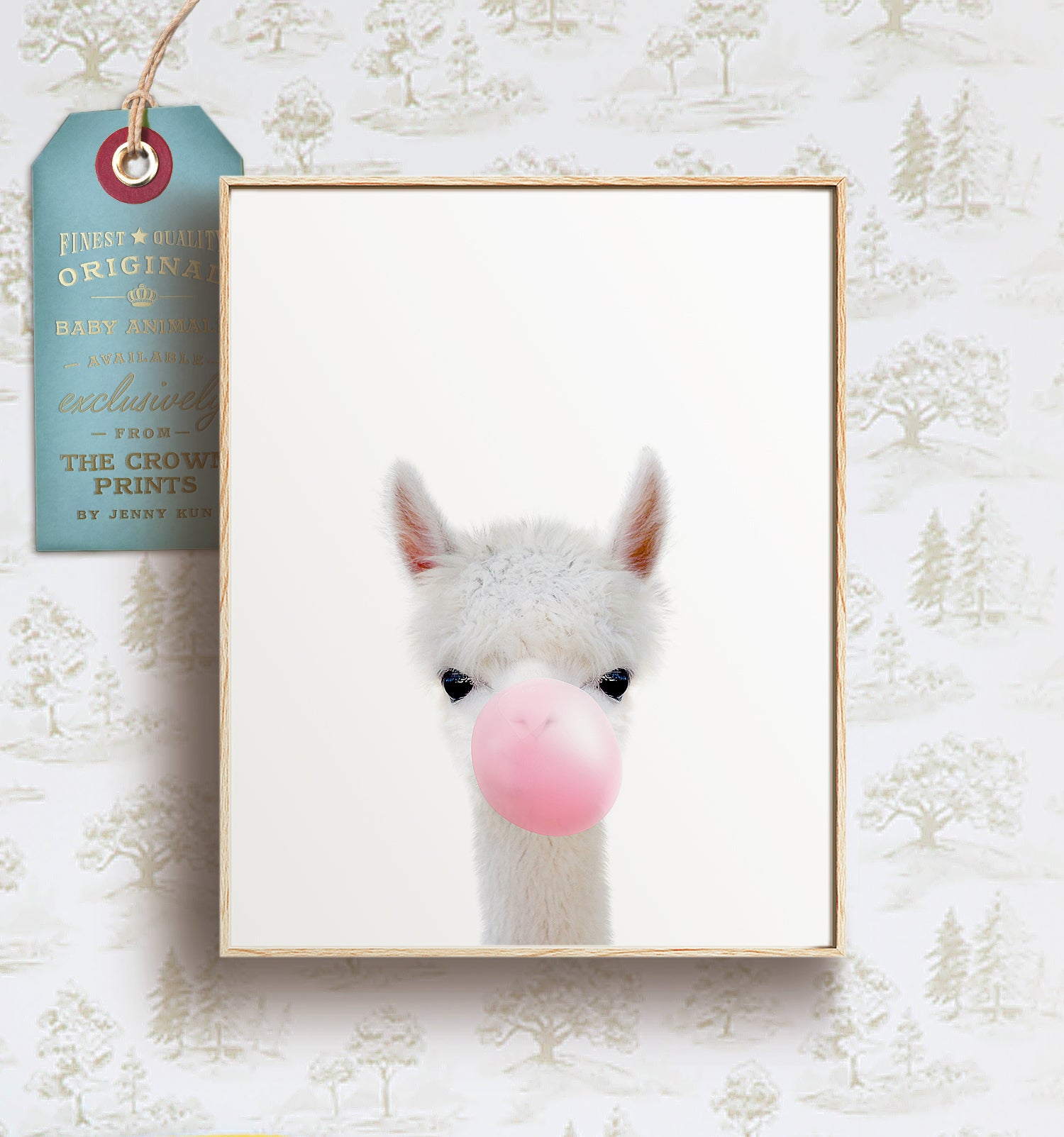 Baby Alpaca with Bubblegum Bubble - Printable Art