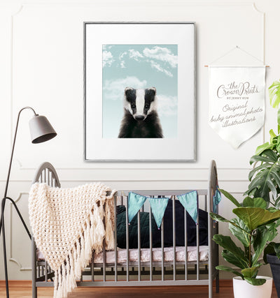 Baby Badger with Blue Sky Printable Art