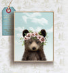 Baby Black Bear with Flower Crown and Blue Sky Printable Art