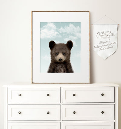 Baby Black Bear with Blue Sky Printable Art