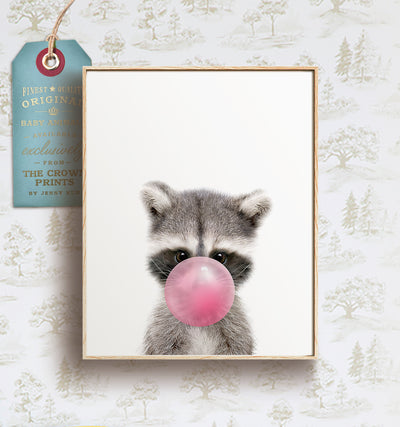 Baby Raccoon with Bubblegum Bubble - Printable Art