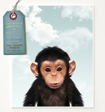 Baby Chimpanzee with Blue Sky Printable Art
