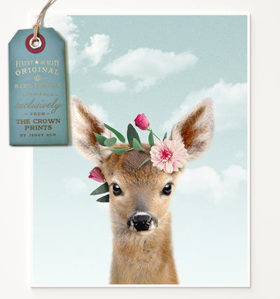 Baby Deer with Flower Crown and Blue Sky Printable Art