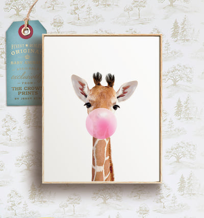 Baby Giraffe with Bubblegum Bubble - Printable Art