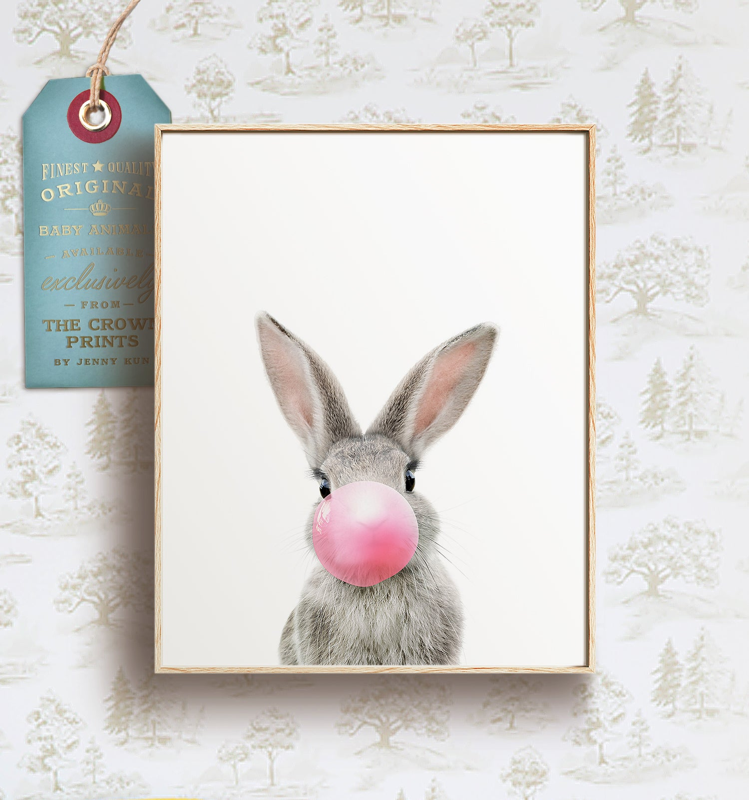 Baby Rabbit with Bubblegum Bubble - Printable Art
