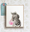 Baby Zebra with Bubblegum Printable Art