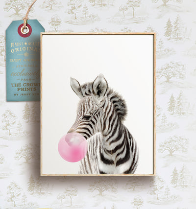 Baby Zebra with Bubblegum Bubble - Printable Art