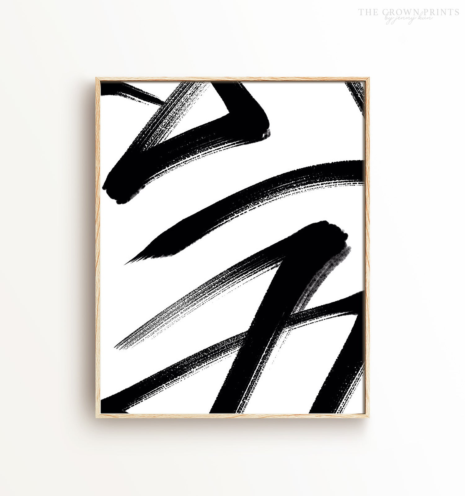 Abstract Black & White Brushstrokes - The Crown Prints
