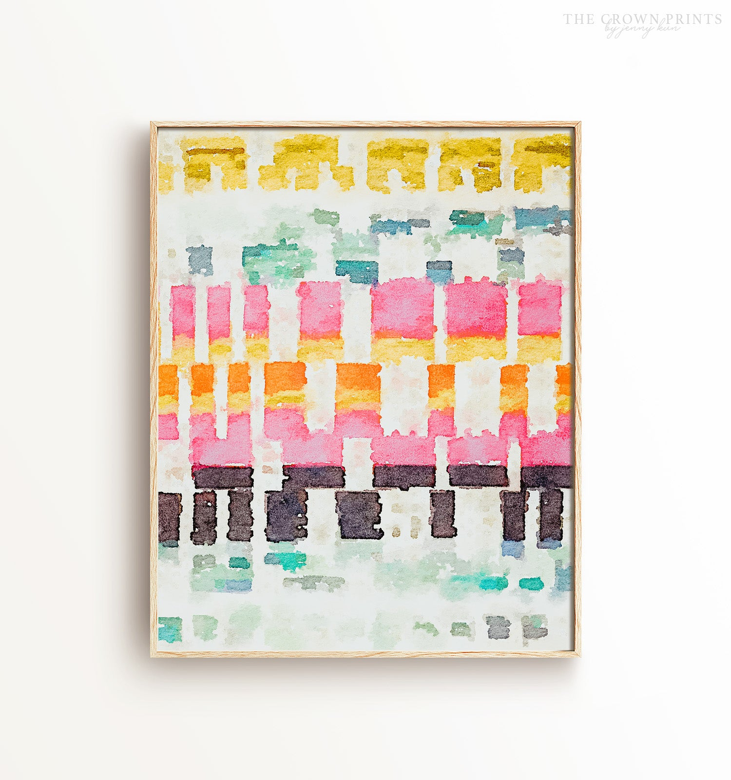 Abstract watercolor stitches - The Crown Prints