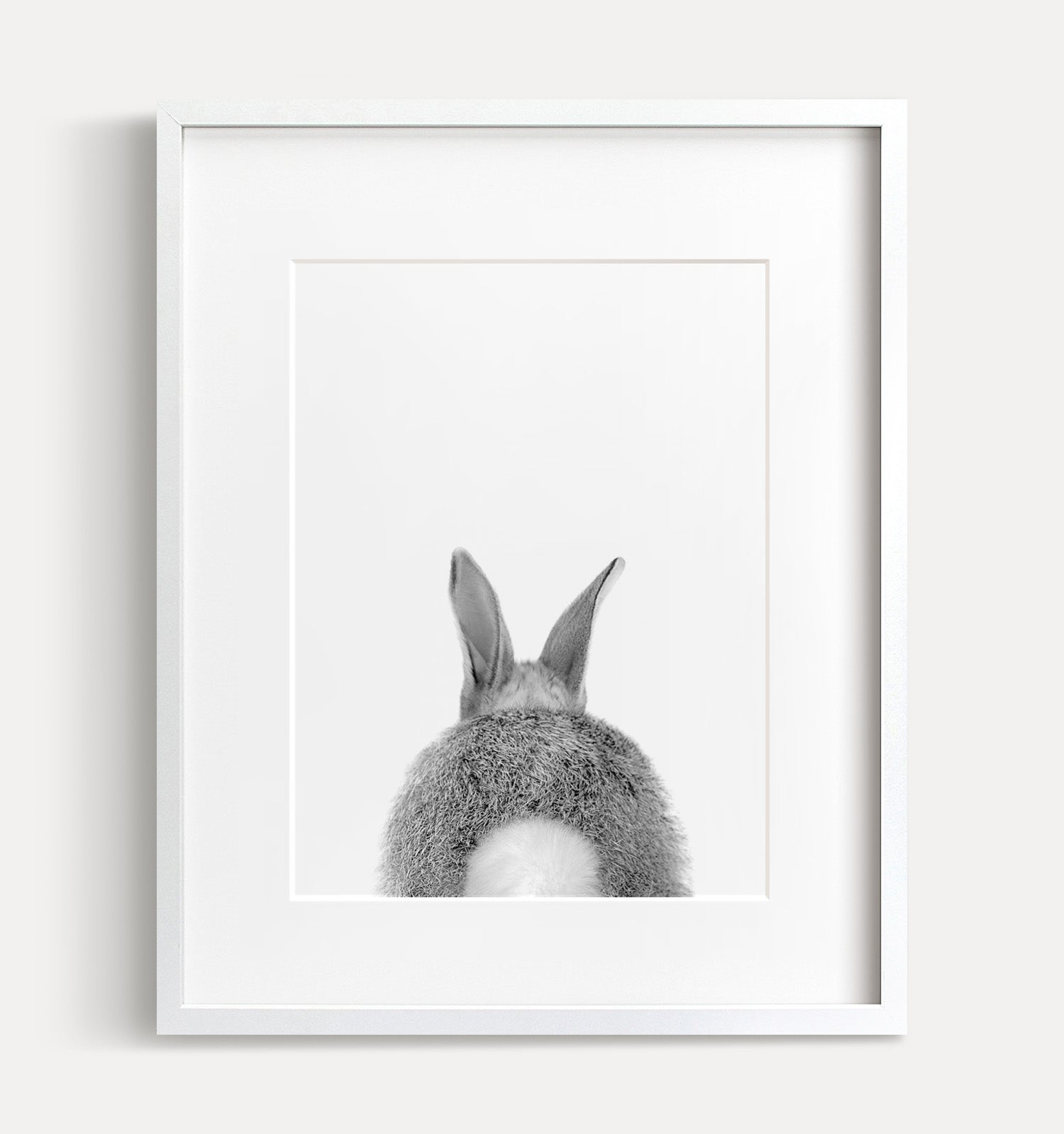 Baby Bunny Bum Print - Black and White - The Crown Prints