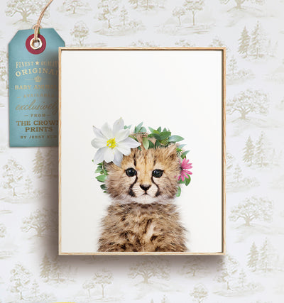 Baby cheetah with flower crown print