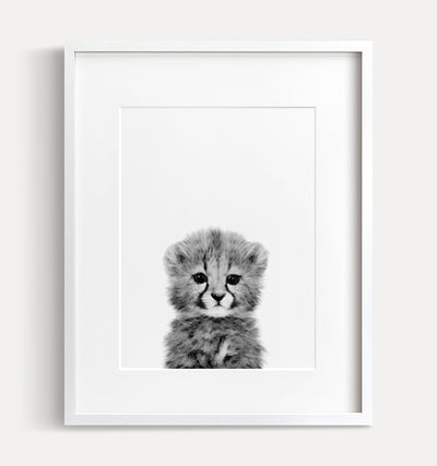 Baby Cheetah Print - Black and White - The Crown Prints