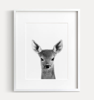 Baby Deer Print - Black and White - The Crown Prints