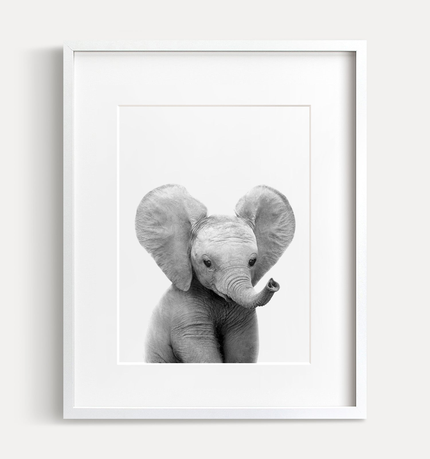Baby Elephant Black and White Printable Art