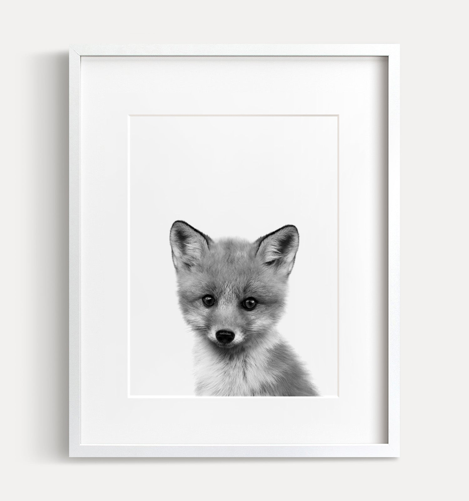 Baby Fox Black and White Printable Art