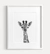 Baby Giraffe Black and White Printable Art