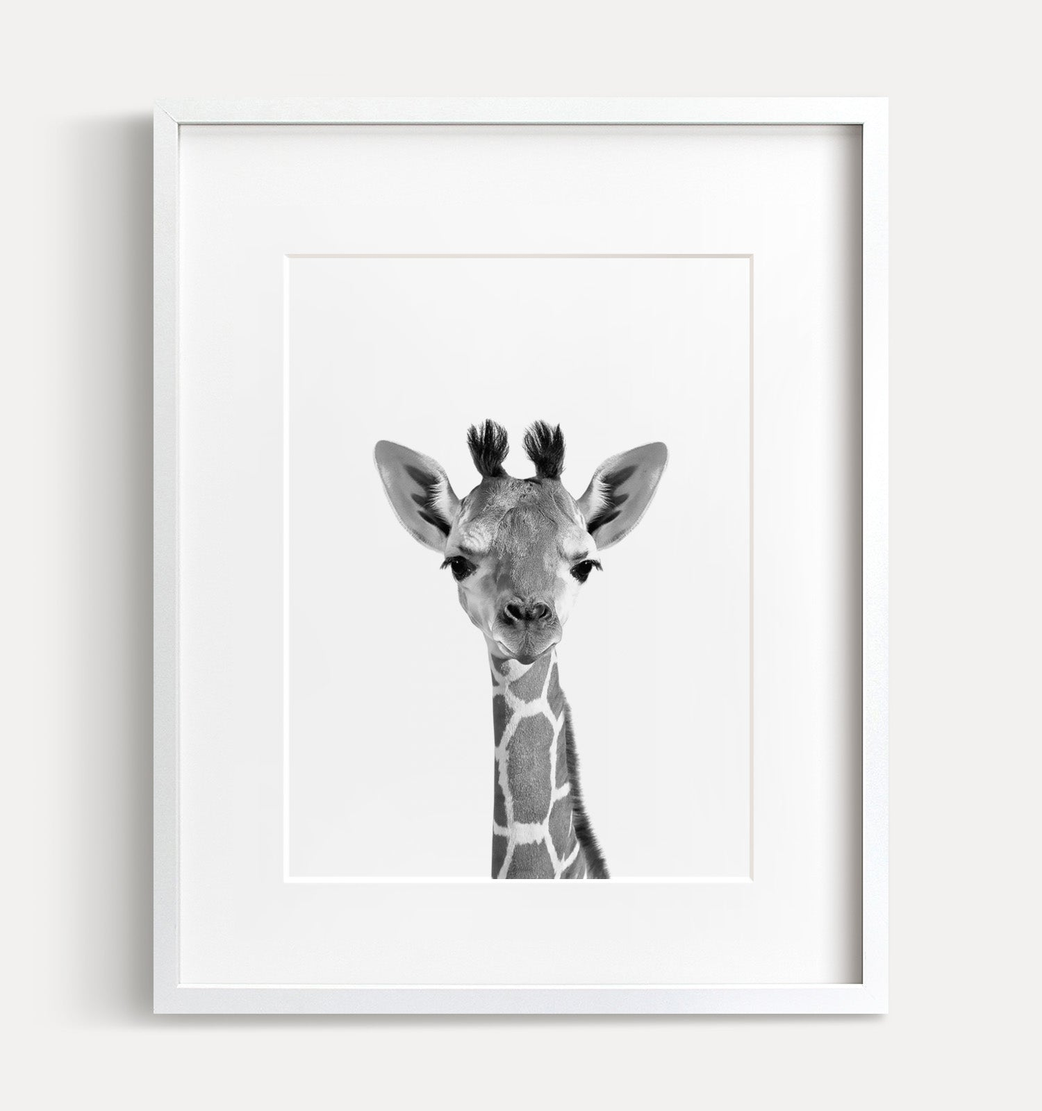 - Baby Giraffe Black And White Print - The Crown Prints