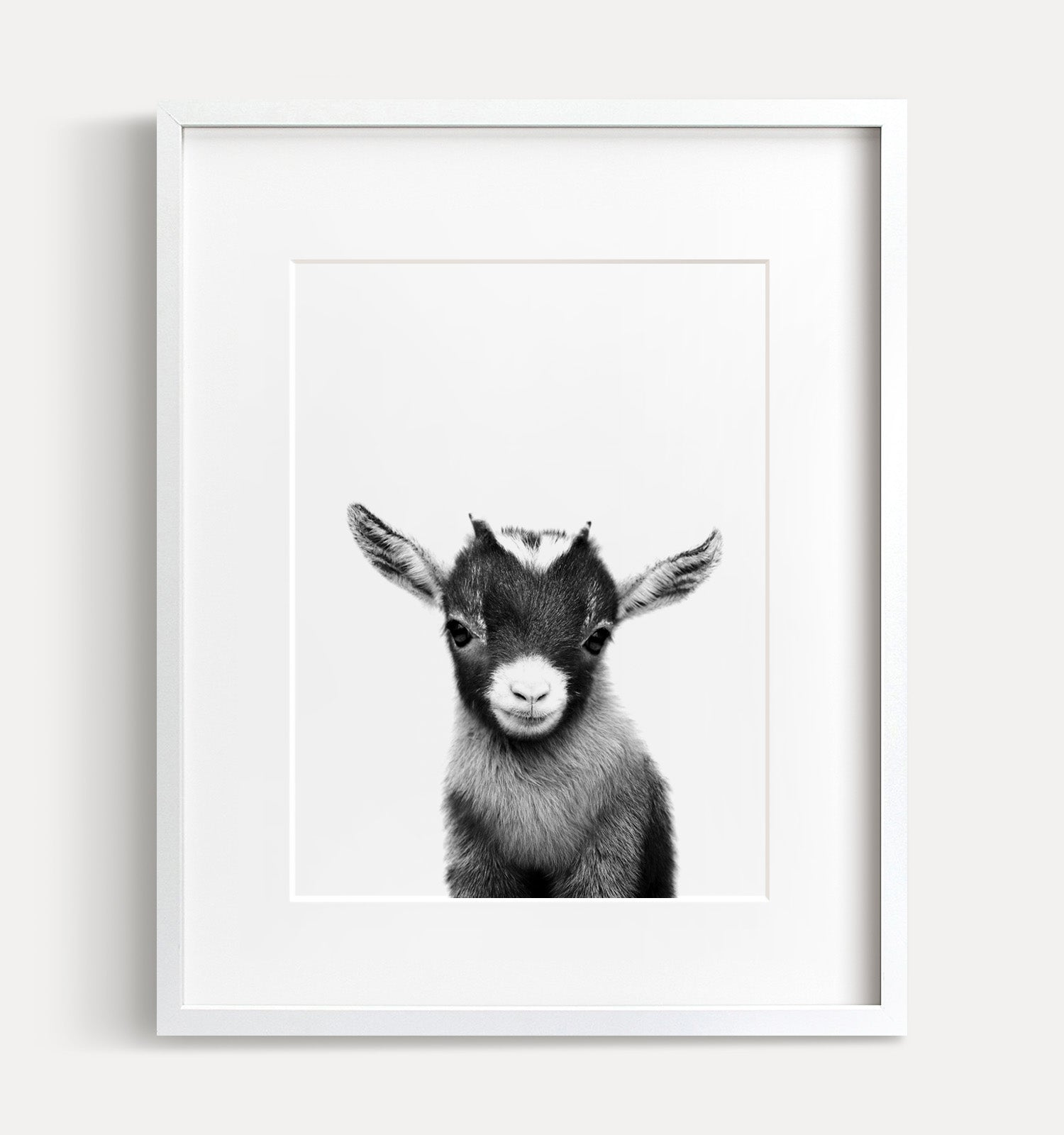 Baby goat printable art black and white the crown prints