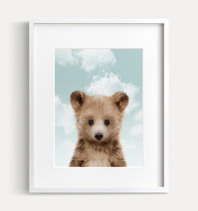 Baby Grizzly Bear with Blue Sky Print