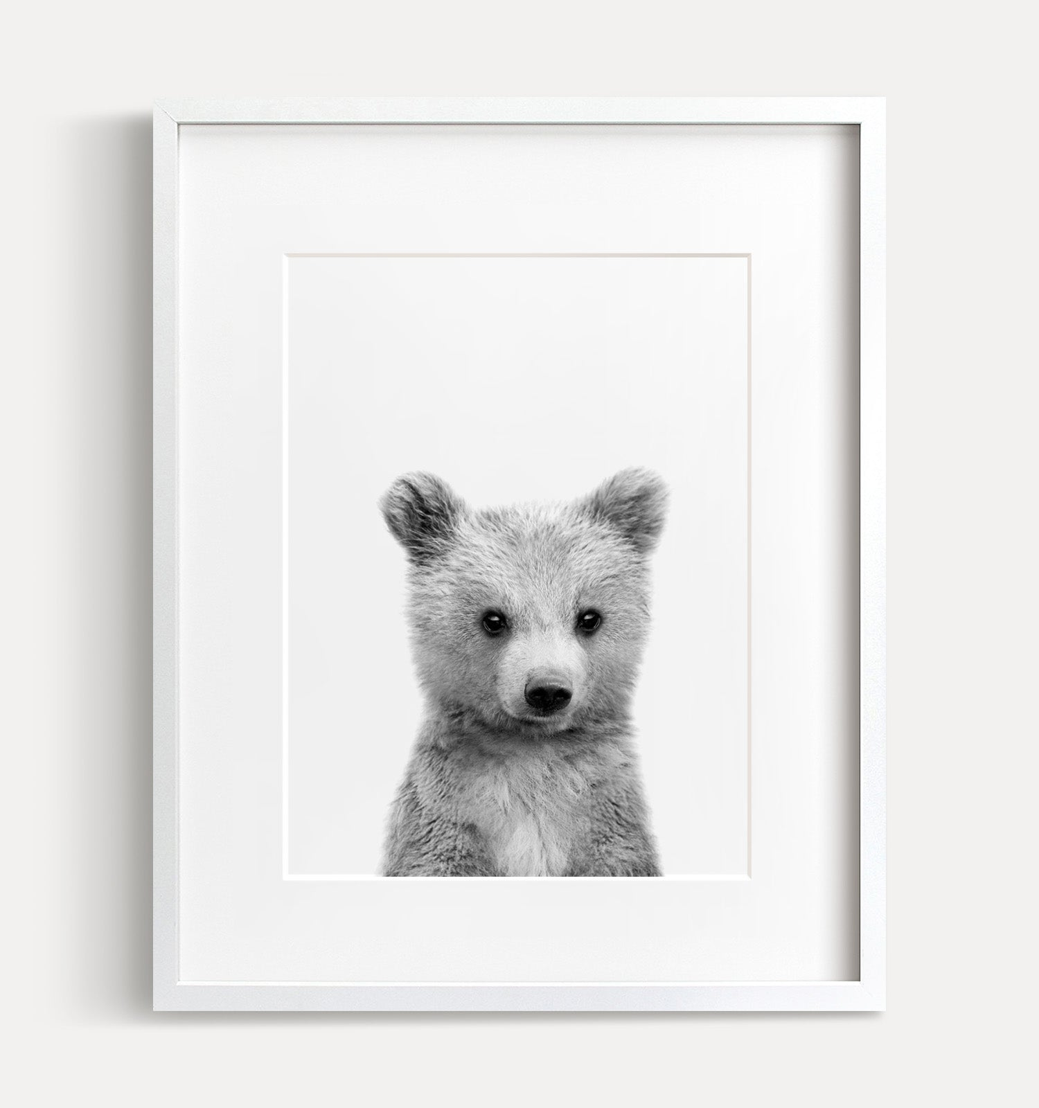 Baby Grizzly Bear Printable Art - Black and White