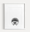 Baby Hedgehog Black and White Printable Art