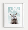 Baby Hippo with Blue Sky Printable Art