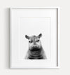 Baby Hippo Black and White Printable Art