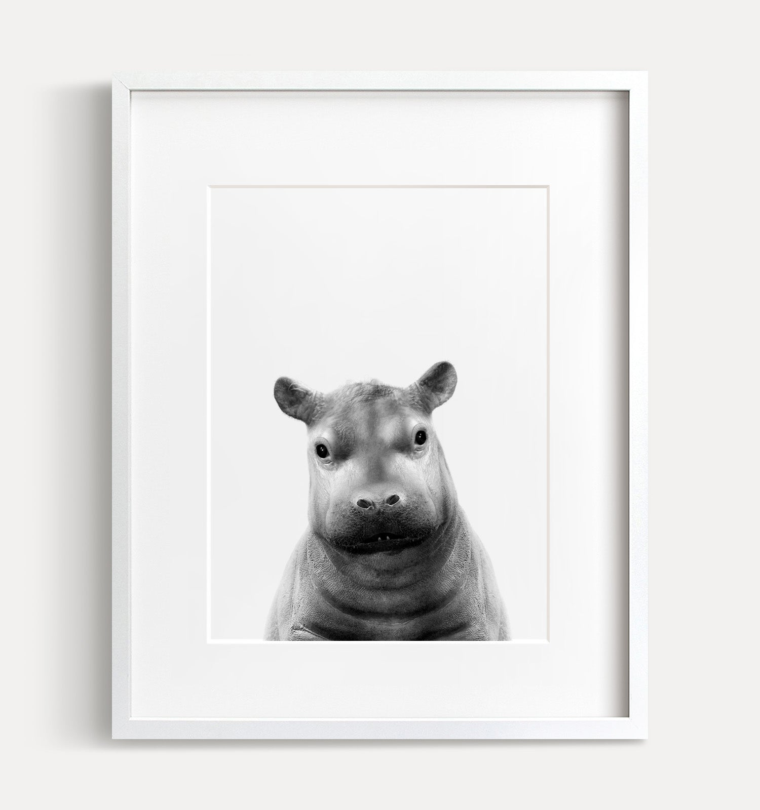 Baby Hippo Printable Art - Black and White