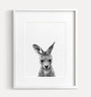 Baby Kangaroo Printable Art - Black and White