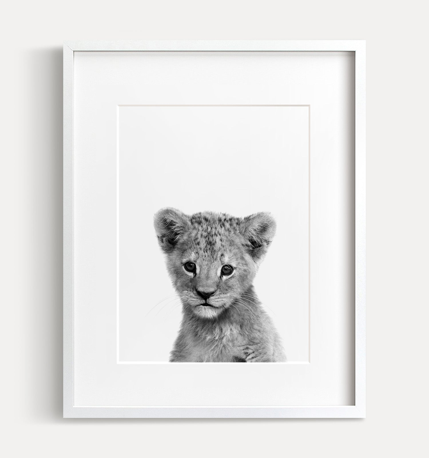 Baby Lion Print - Black and White - The Crown Prints