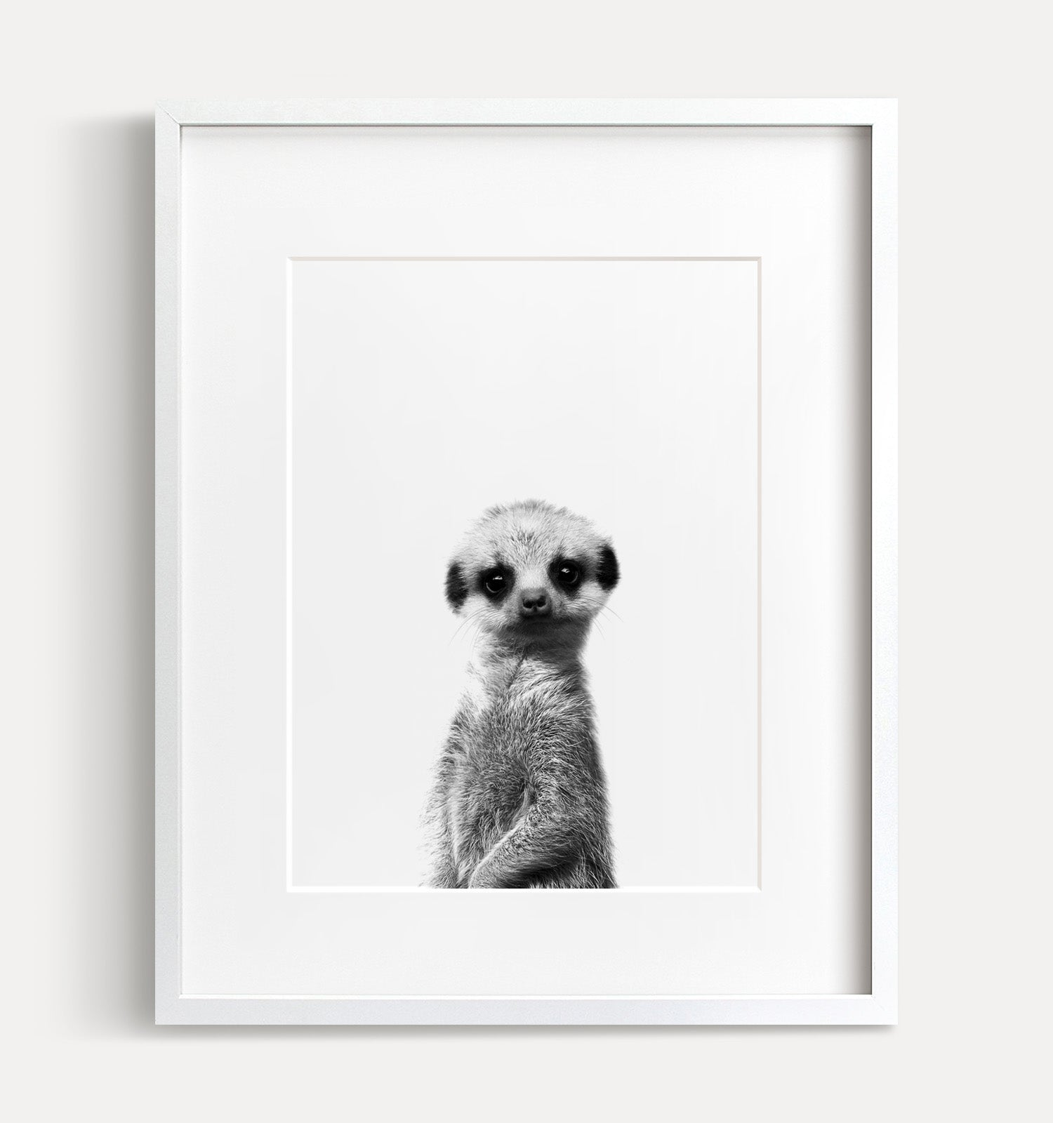 Baby Meerkat Black and White Printable Art