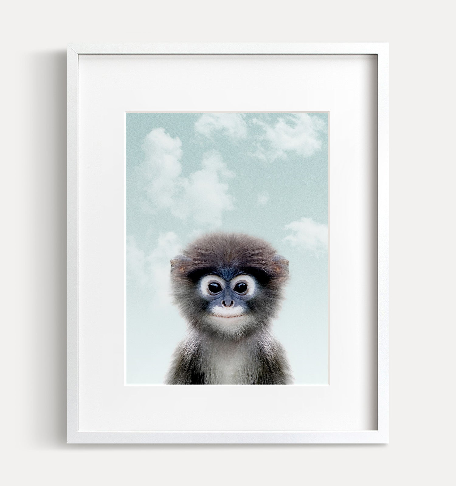 Baby Monkey with Blue Sky Printable Art
