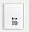 Baby Opossum Black and White Printable Art