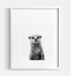 Baby Otter Black and White Printable Art