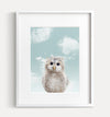 Baby Owl with Blue Sky Printable Art