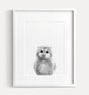 Baby Owl Black and White Printable Art