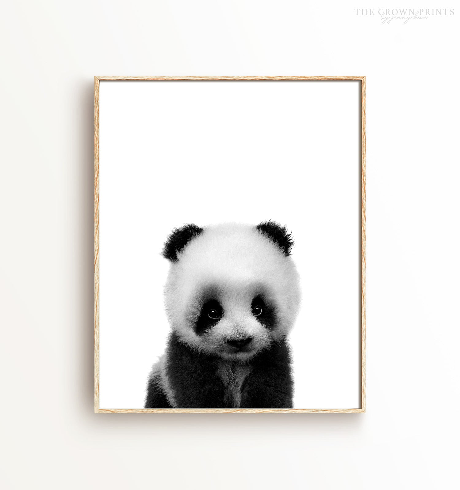 Baby panda print black and white the crown prints